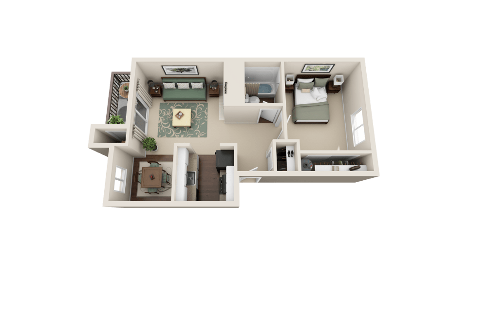 The A floor plan at Copperstone Apartment Homes in Everett, WA