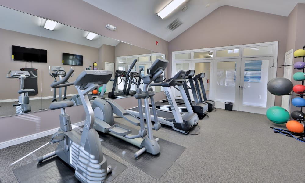 Renovated fitness center at Seneca Bay Apartment Homes in Middle River, Maryland