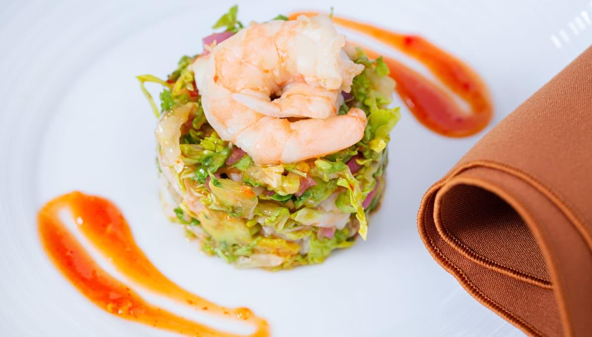A shrimp dish at Touchmark at Mount Bachelor Village in Bend, Oregon