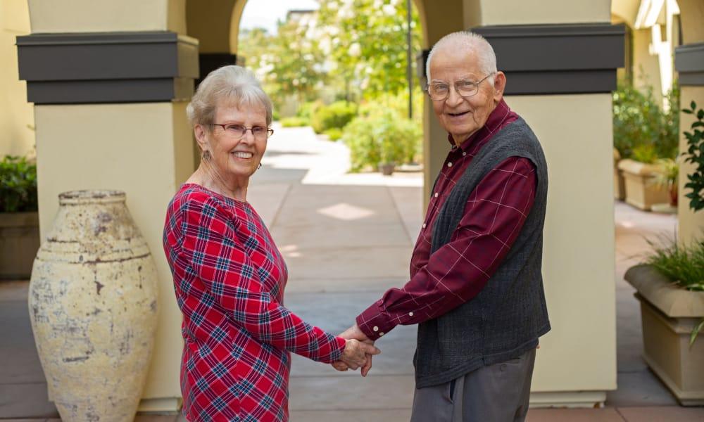 senior residents enjoying a walk