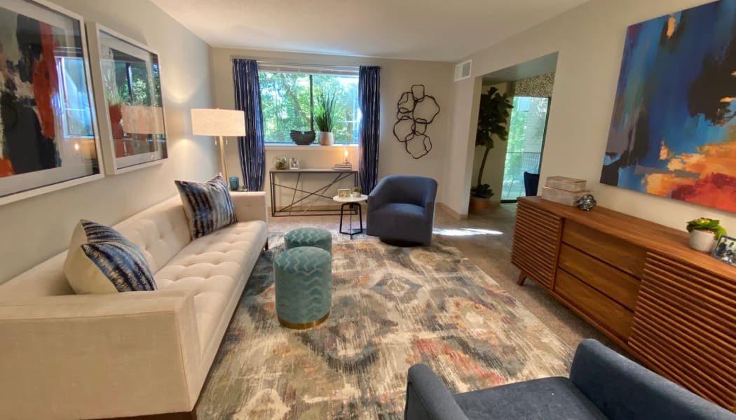 Spacious living room at The Chimneys of Cradlerock Apartments in Columbia, Maryland