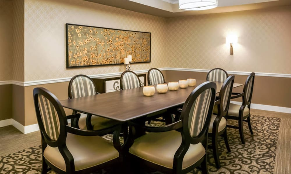 Private dining room with long table at The Sanctuary at West St. Paul in West St. Paul, Minnesota