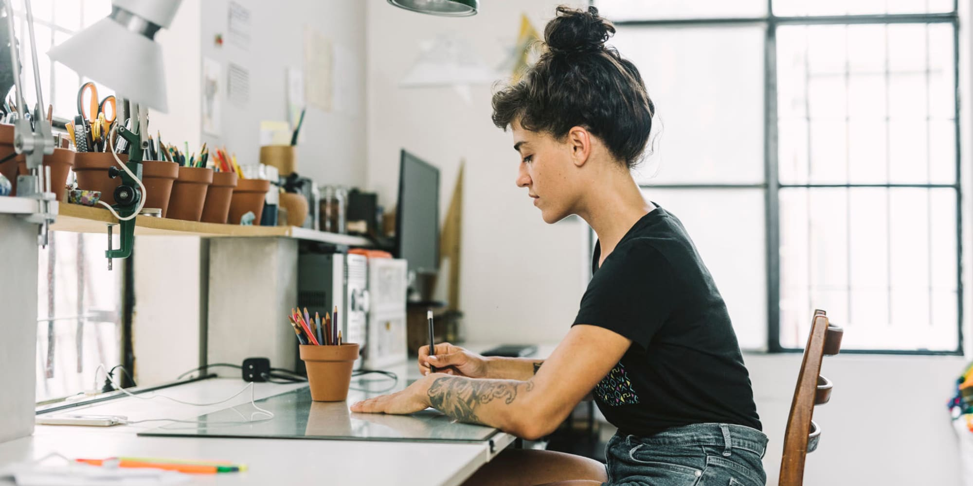 Student in a design class near Mediterranean Village in West Hollywood, California