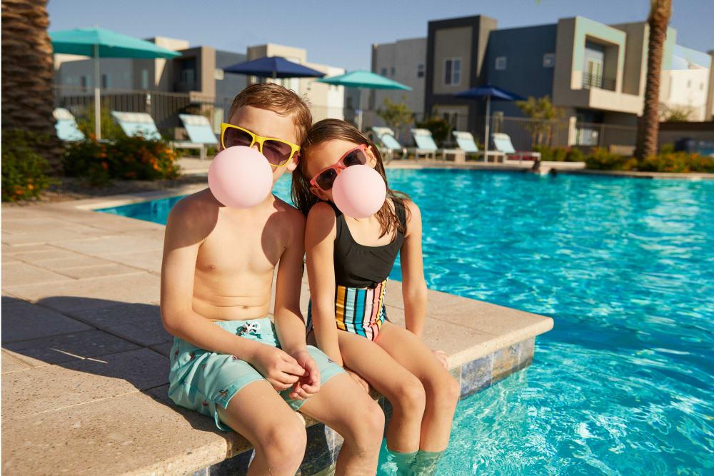 Kids at the pool at BB Living at Eastmark in Mesa, Arizona