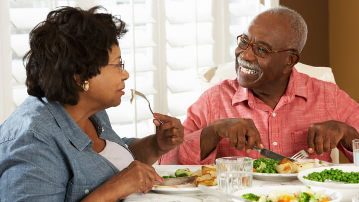 Senior Couple Eating Salads
