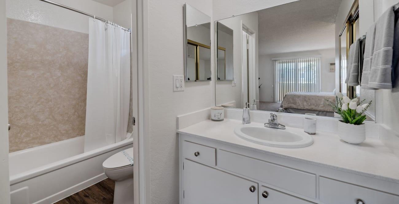 Large master bathroom with full size bathtub at The Esplanade in Lake Balboa, California