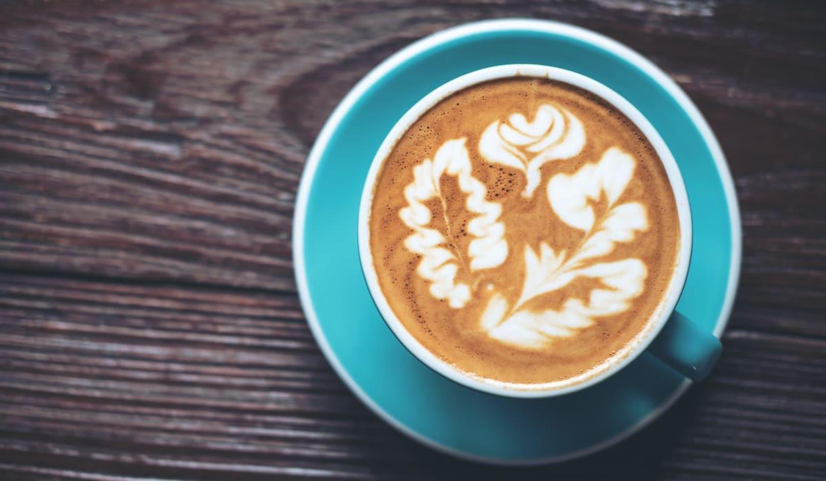 Handcrafted latté at a café near Rancho Los Feliz in Los Angeles, California