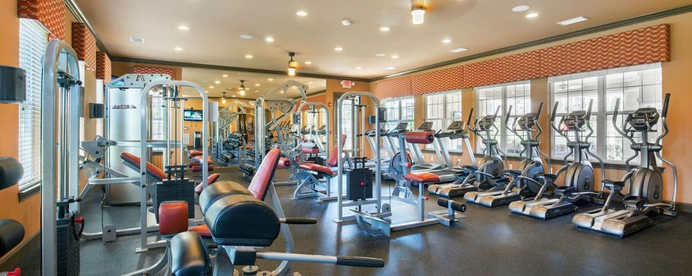 Fitness bikes at Integra Hills Preserve Apartments in Ooltewah, Tennessee