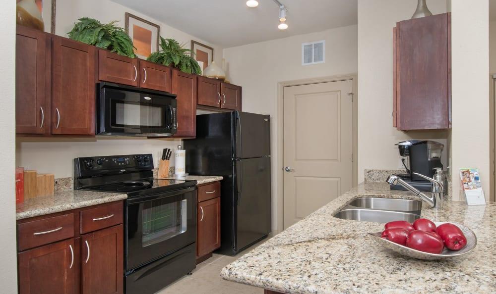 Large kitchen at Villas Tech Ridge in Pflugerville, Texas