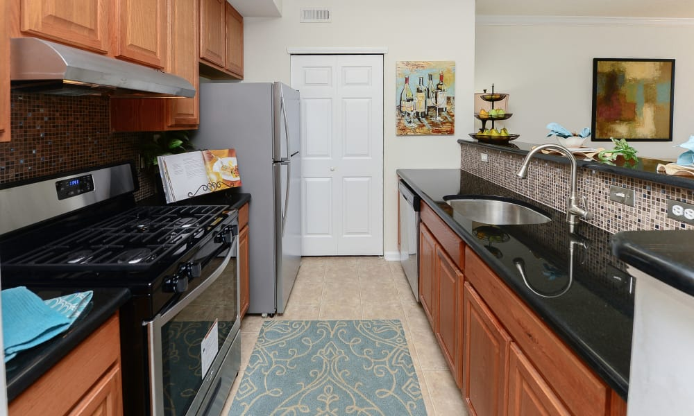 Kitchen hallway at Bishop's View Apartments & Townhomes in Cherry Hill, NJ