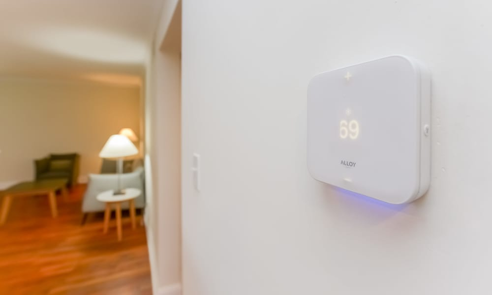 Digital Thermostat at Hill Brook Place Apartments in Bensalem, Pennsylvania
