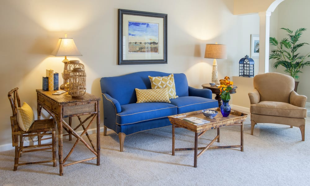 A decorated apartment living room at Keystone Place at  Buzzards Bay in Buzzards Bay, Massachusetts