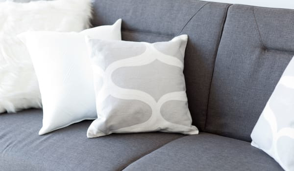 Throw pillows on a couch at Bristol Park Apartments in Jackson, Mississippi