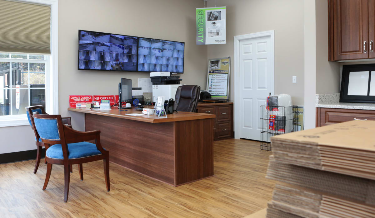 The interior of the leasing office at Midgard Self Storage in Lexington, South Carolina