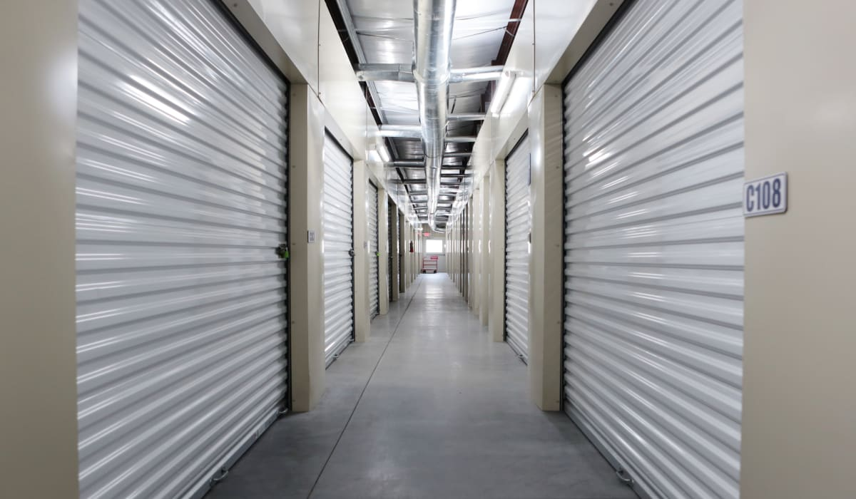 Indoor storage units at Midgard Self Storage in Lexington, South Carolina