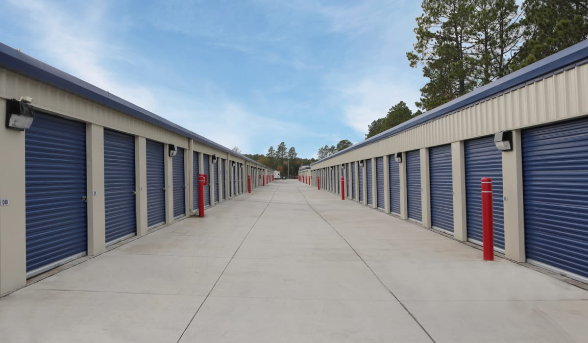 Outdoor storage unites at Midgard Self Storage in Lexington, South Carolina