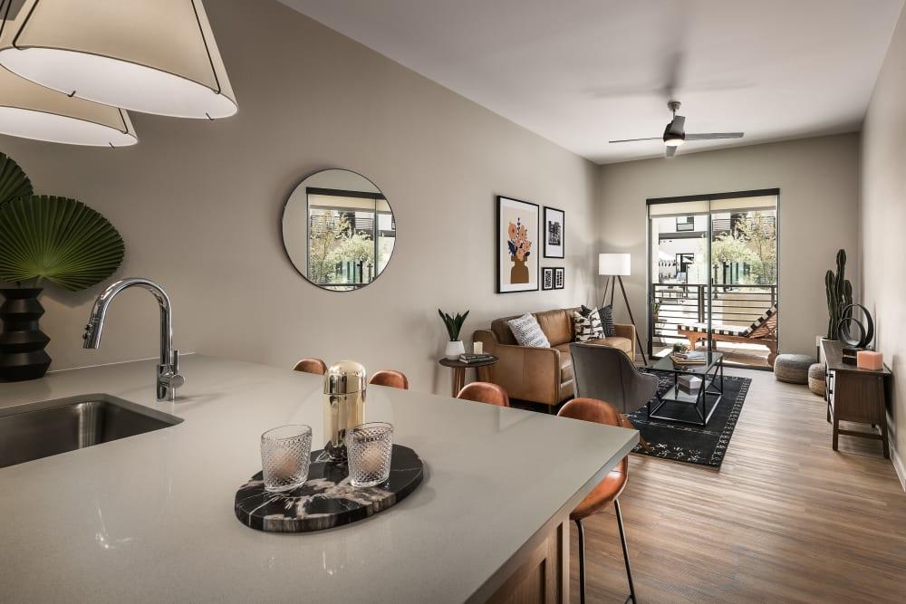 Spacious kitchen with a breakfast bar at Gramercy Scottsdale in Scottsdale, Arizona