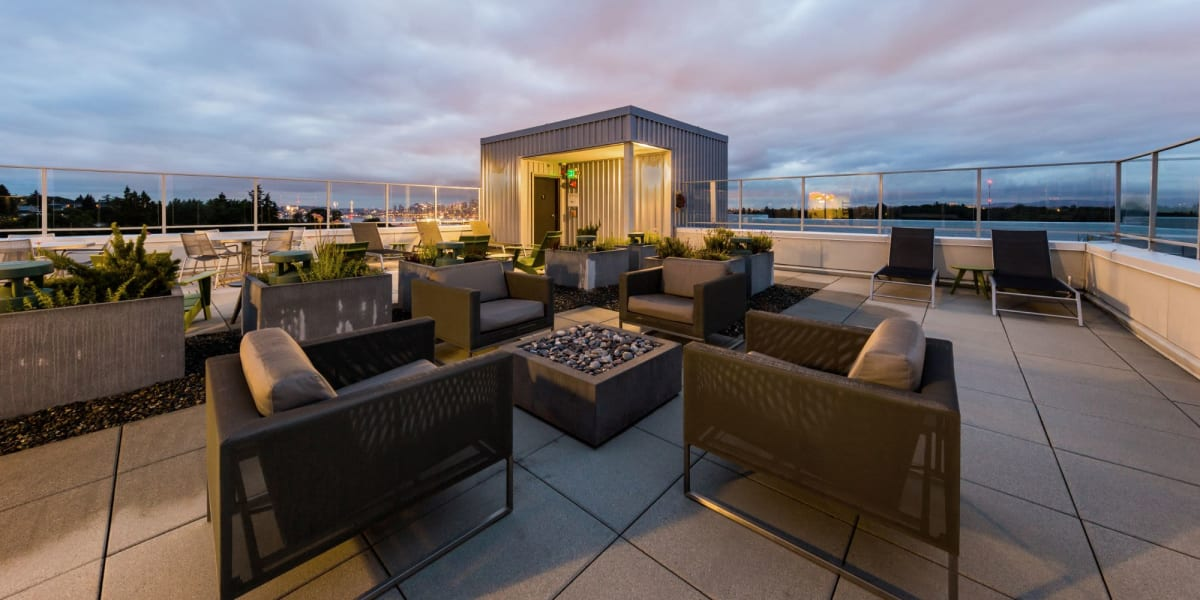 Rooftop seating area at Marq West Seattle in Seattle, Washington