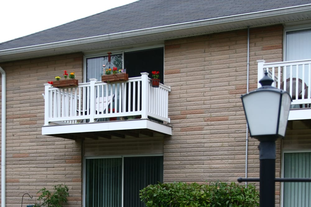 Pretty balcony flowers at The Heights at Spring Lake in Spring Lake, New Jersey