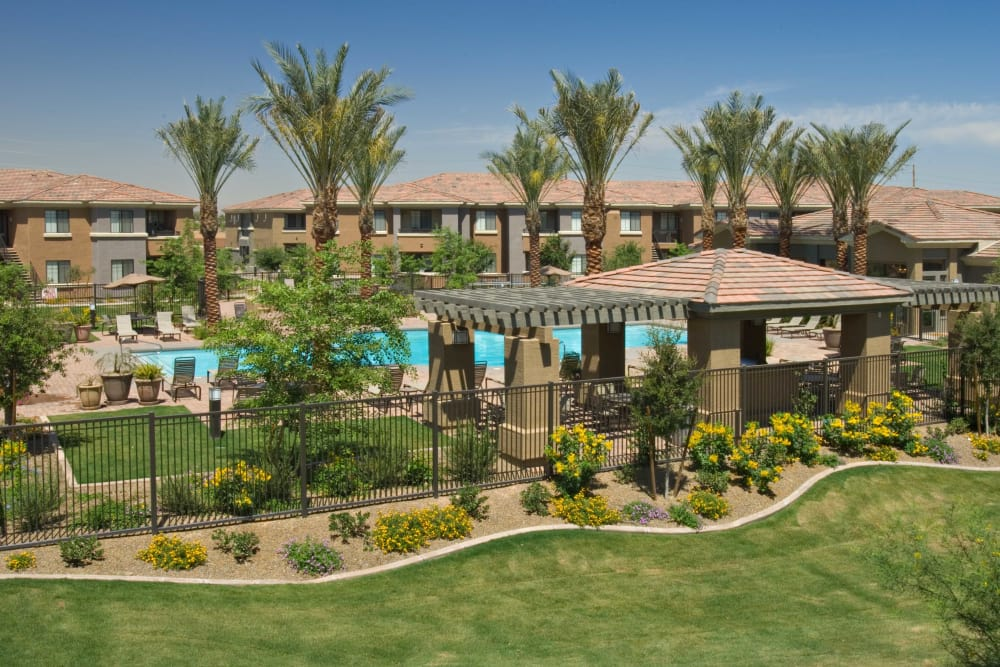Panoramic view of swimming pool at Broadstone Desert Sky in Phoenix, Arizona
