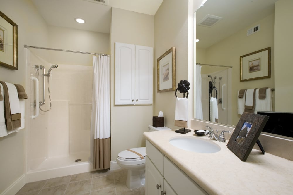 A decorated bathroom at The Village of Tanglewood in Houston, Texas