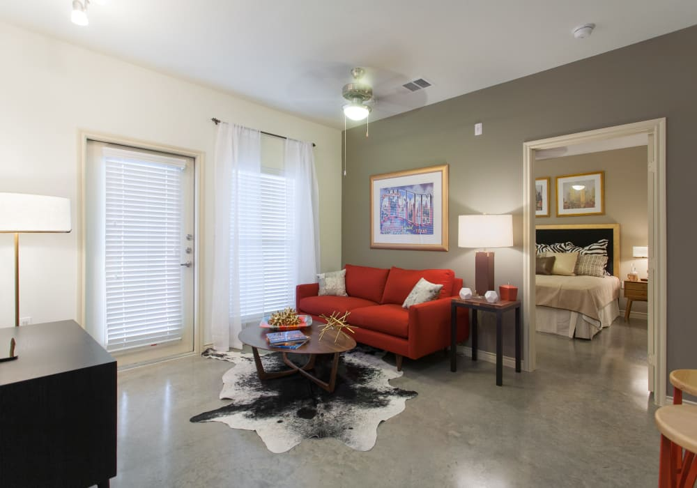 Enjoy a luxury living room at Ethos Apartments in Austin, Texas