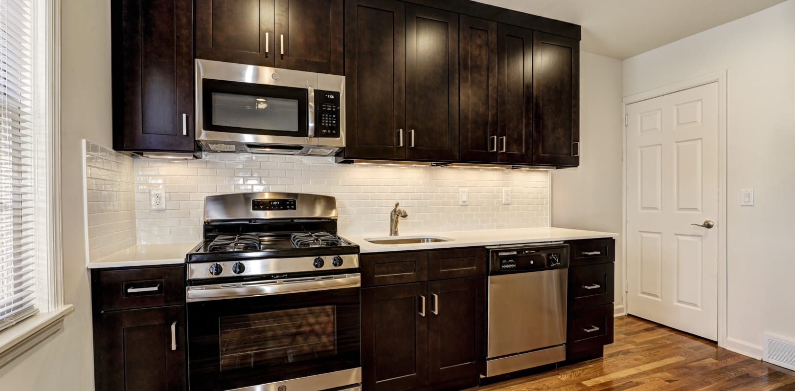 Kitchen with plenty of cabinet space at General Wayne Townhomes and Ridgedale Gardens in Madison, New Jersey