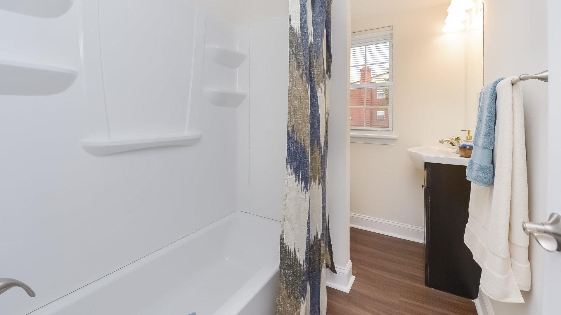 Bathroom at Kingswood Apartments & Townhomes in King of Prussia, Pennsylvania