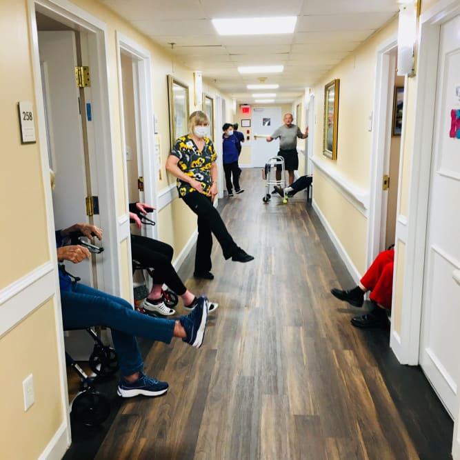 Social distancing at Grand Villa of Dunedin in Dunedin, Florida