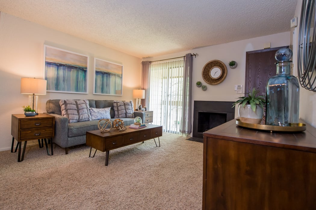 Wonderful living room at Eagle Point Apartments in Tulsa, Oklahoma