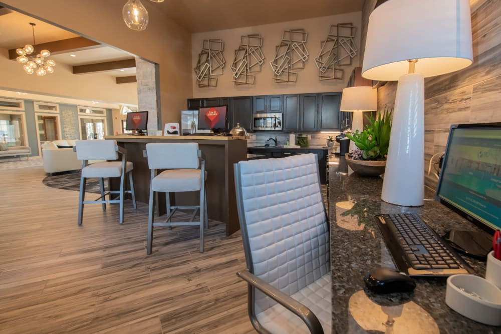 Business Center for residents at Portico at Friars Creek Apartments in Temple, Texas