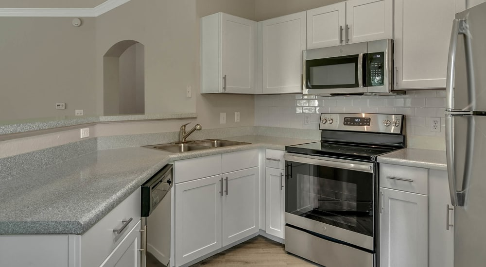 Modern stainless steel appliances at Palms at World Gateway in Orlando, Florida