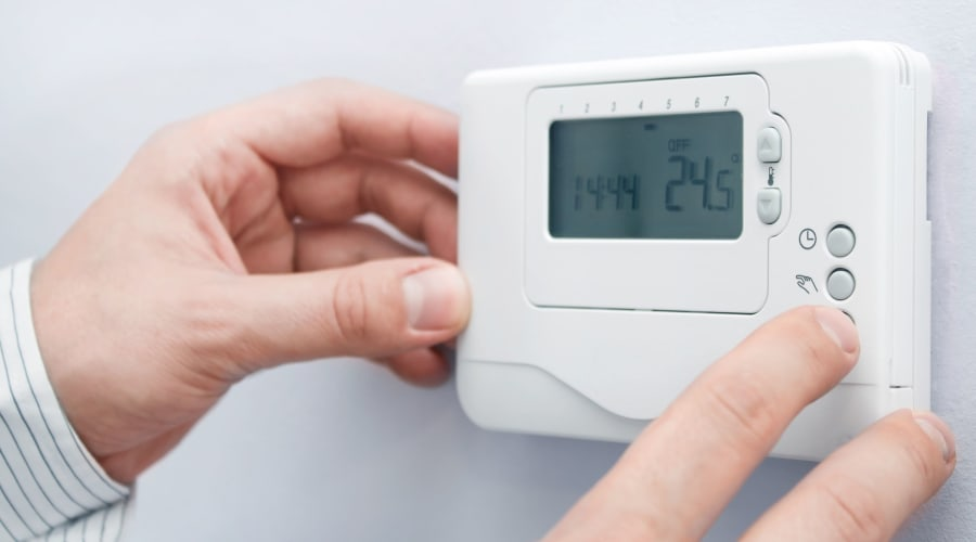 Temperature control thermostat at KO Storage of Billings in Billings, Montana
