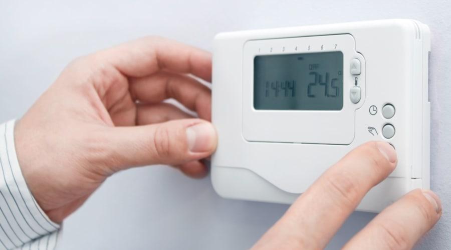 Temperature control thermostat at KO Storage of Wichita Falls in Wichita Falls, Texas