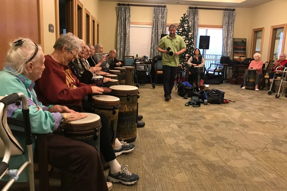 Drum class at Edencrest at Riverwoods in Des Moines, Iowa