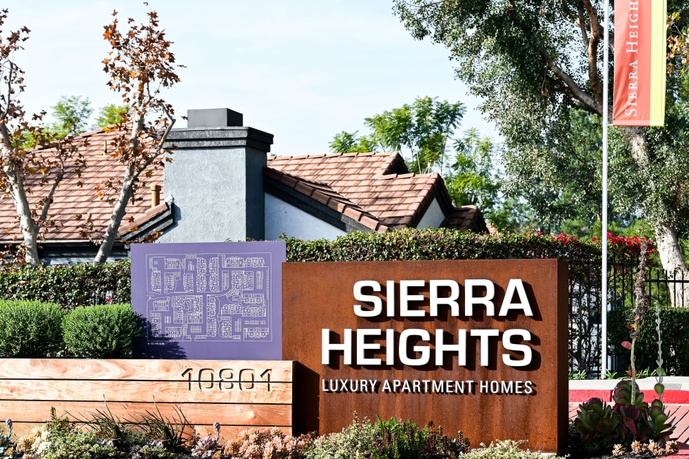 Front sign at Sierra Heights Apartments in Rancho Cucamonga, California