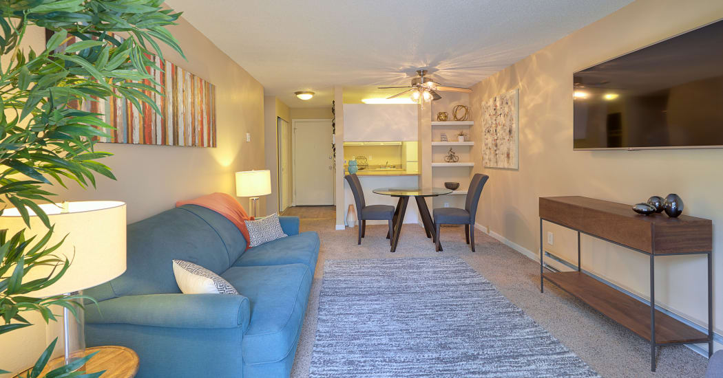 Spacious living room in model home at The Boulevard at South Station Apartment Homes in Tukwila, WA