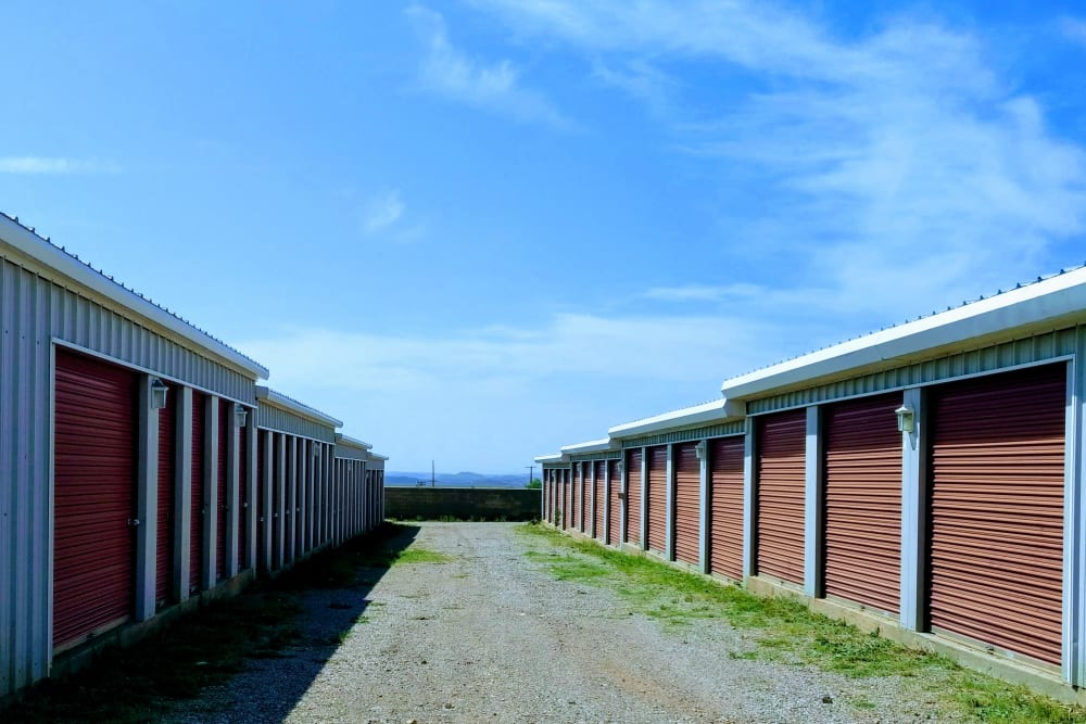 Exterior storage units at Anytime Storage