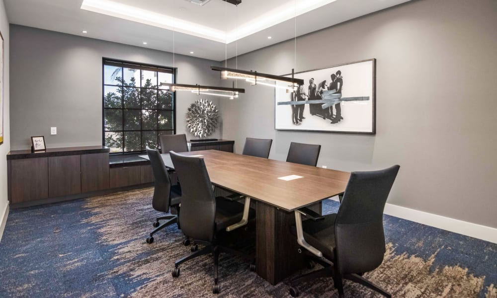 Office area with conference rooms residents can use for meetings at 6600 Main in Miami Lakes, Florida