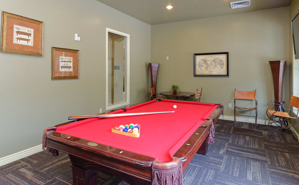 Billiards table in the resident clubhouse at Waterford at Peoria in Peoria, Arizona