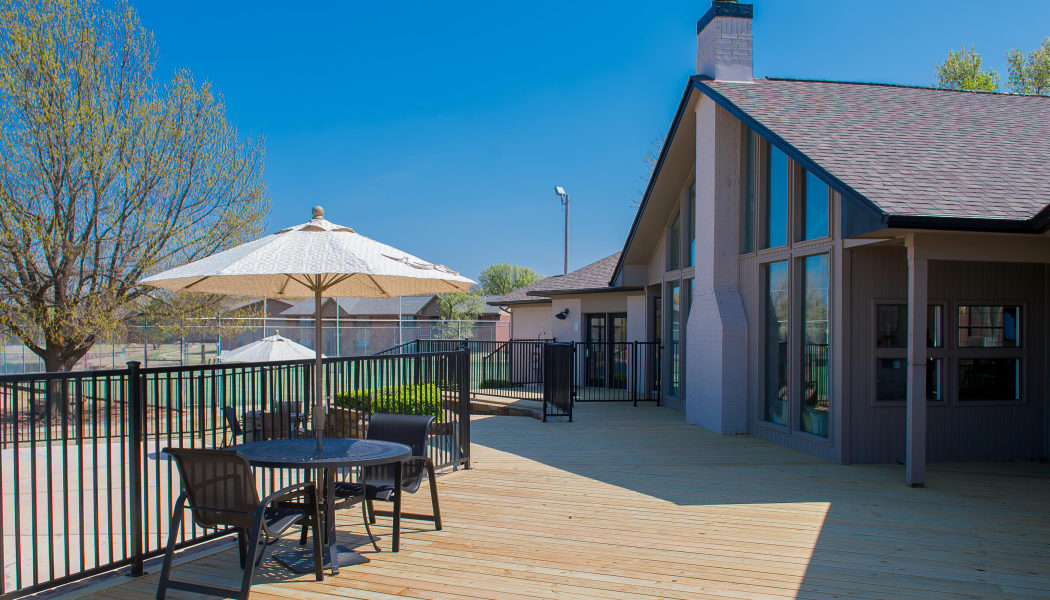 Outdoor deck at Waters Edge in Oklahoma City, Oklahoma