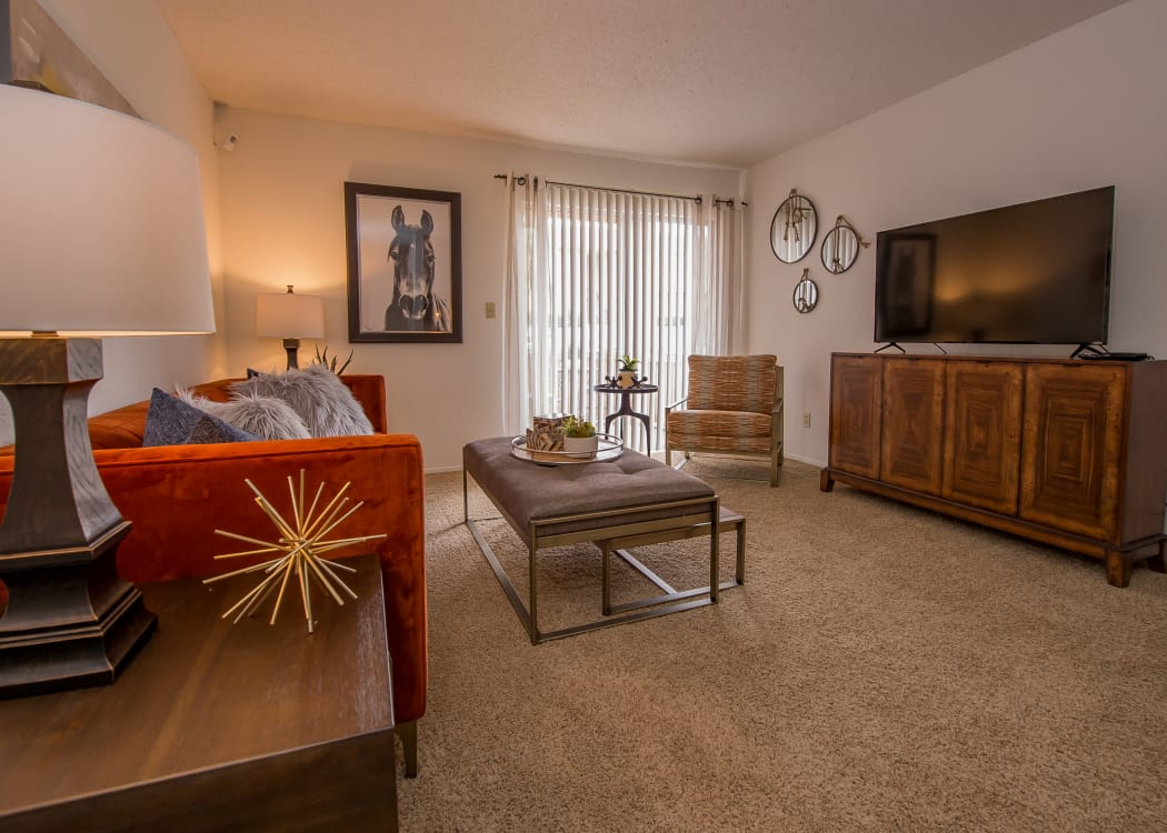 Open-concept living area in model home at Windsail Apartments in Tulsa, Oklahoma