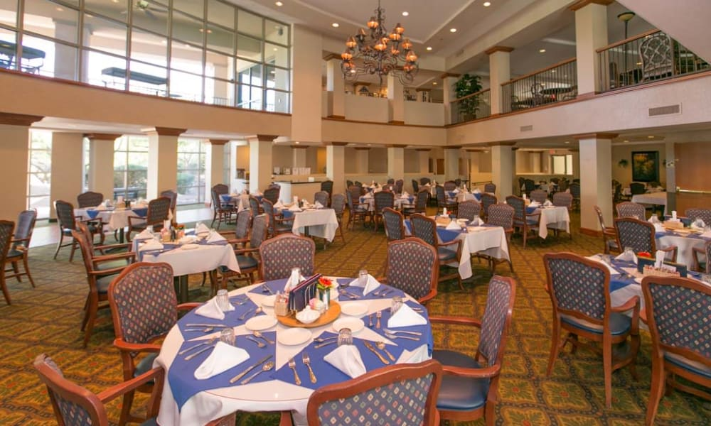 Dining hall of Mountain View Retirement Village in Tucson, Arizona