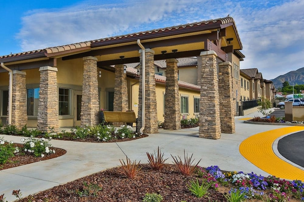 The community entrance at Brightwater Senior Living of Highland in Highland, California