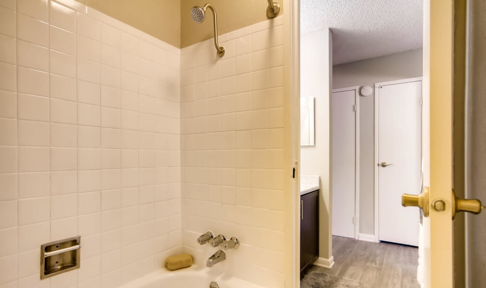 Large private shower at Mountain Vista in Lakewood, Colorado