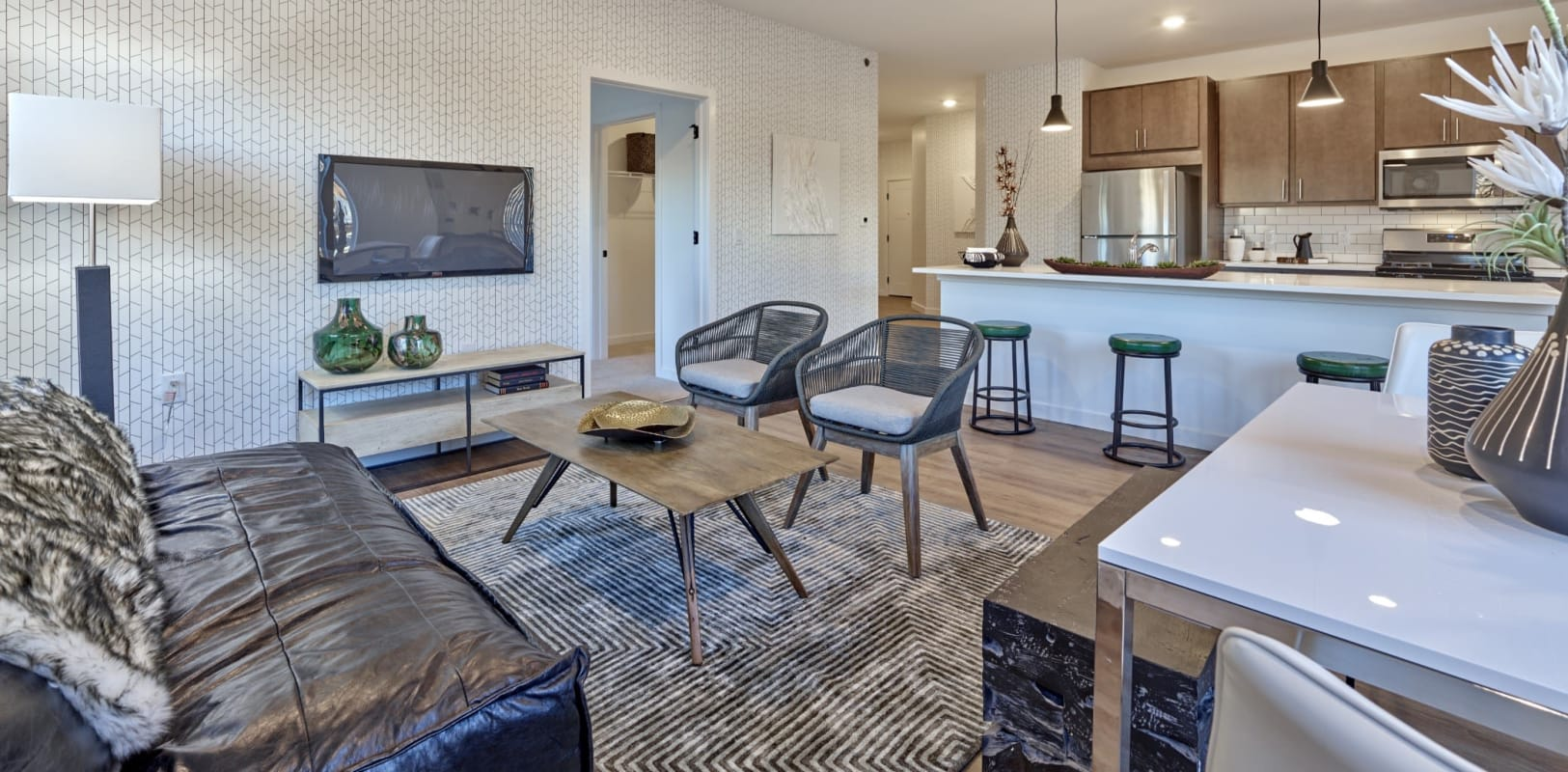 New wood flooring in a model home's living area at The Mills at Lehigh in Bethlehem, Pennsylvania