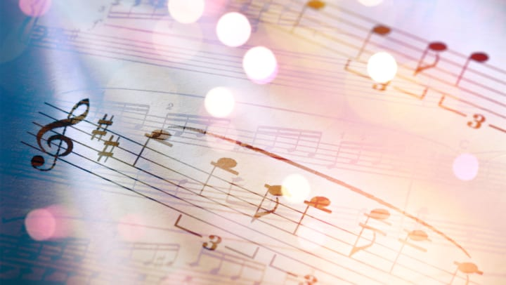 Sheet of music with twinkle purple and pink shades as an overlay