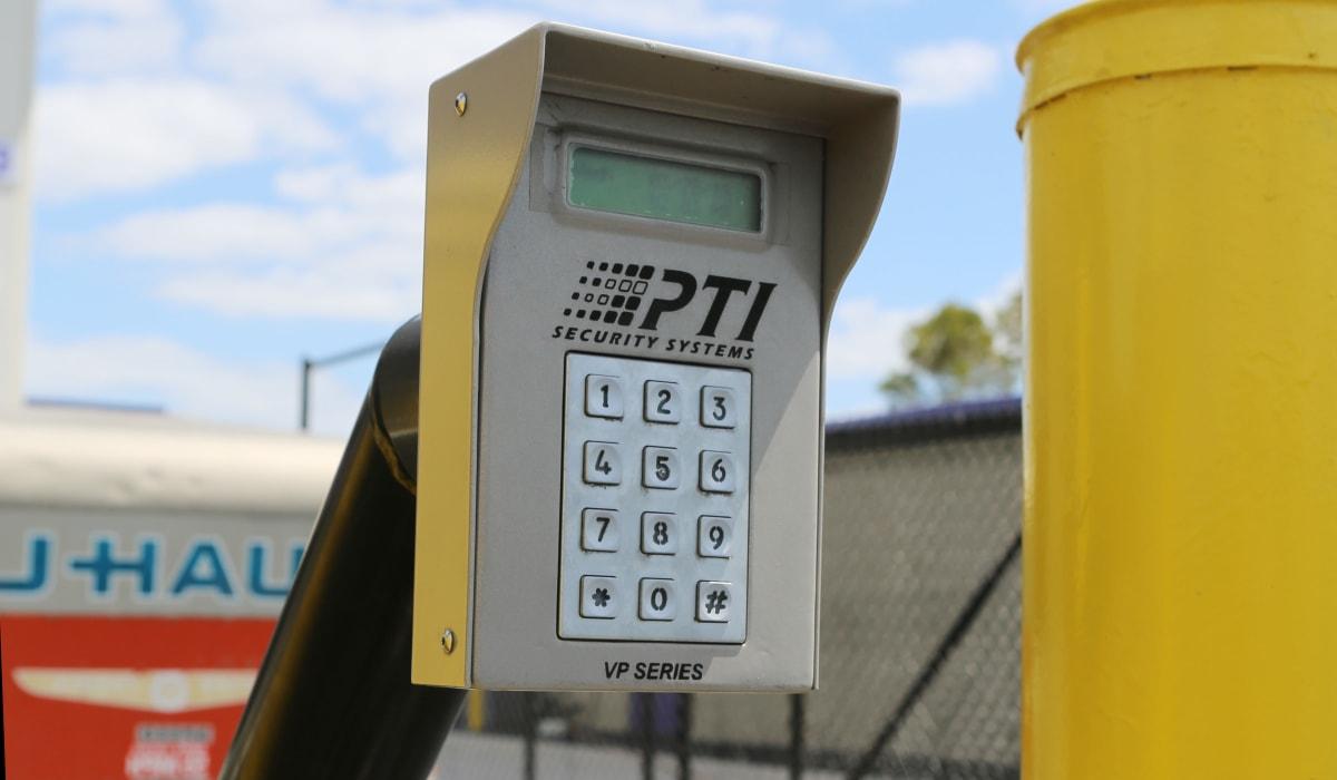 Security pad to enter our facility at Midgard Self Storage in Bradenton, Florida