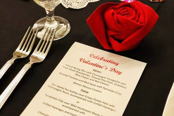 Menu for All Seasons of West Bloomfield's valentine's day theme dinner in West Bloomfield, Michigan