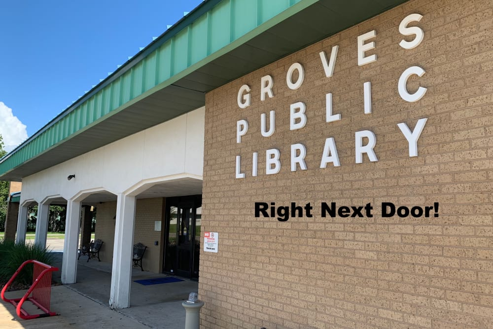The city library is next door to Cambridge in the Groves in Groves, Texas